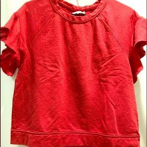 Anthropologie Ruffled Sleeve Sweatshirt